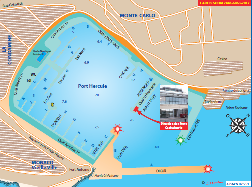Chart of Hercule Harbor, Monaco