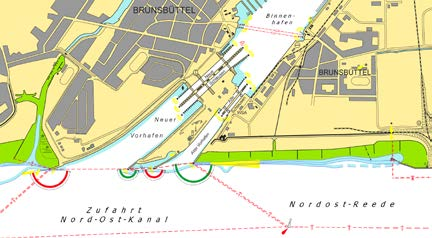 Map of the locks for Brunsbüttel (Kiel Canal/Germany)