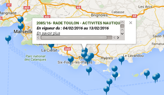 France: Map with navigational warnings