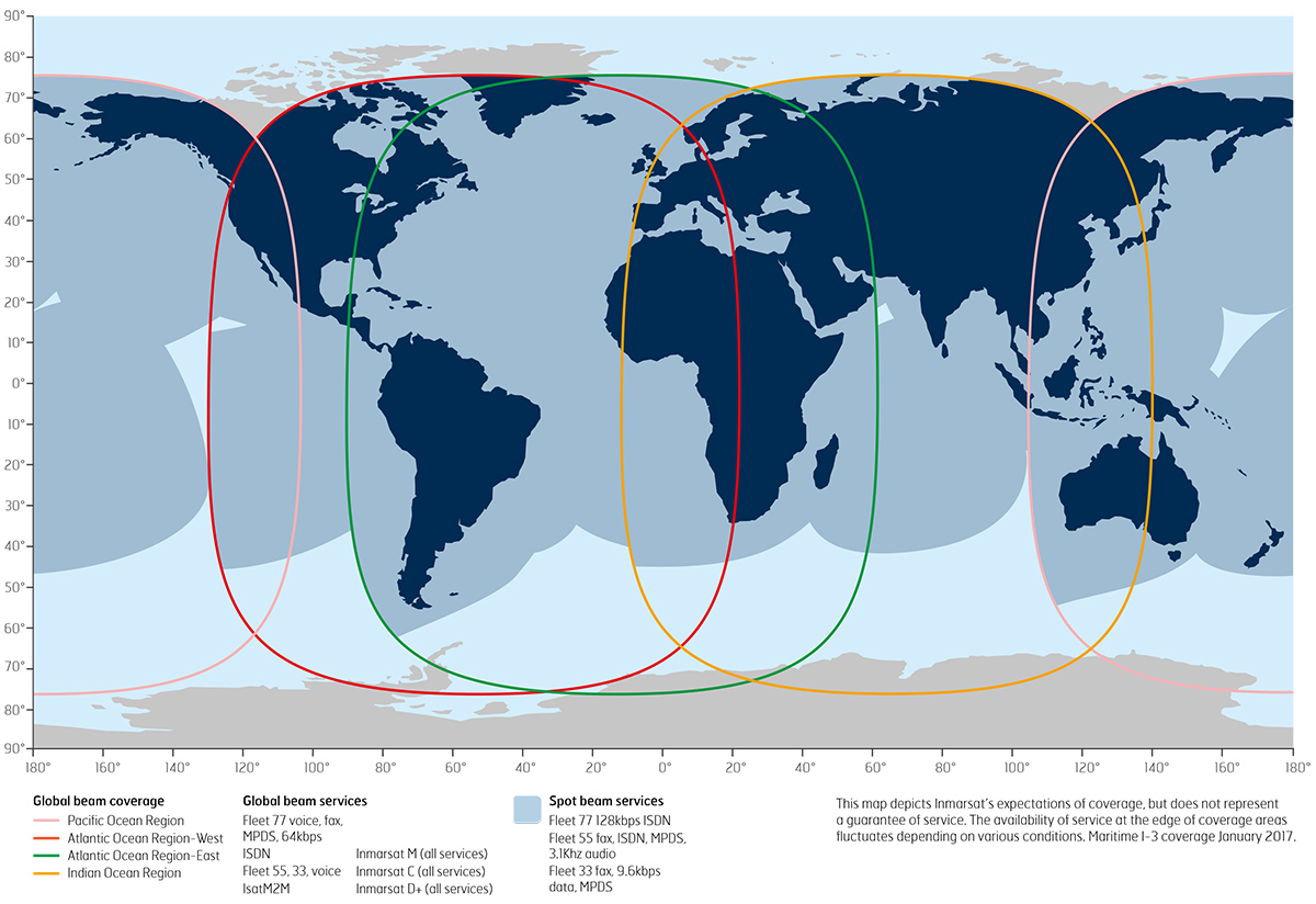 World map: Inmarsat 3 satellite coverage