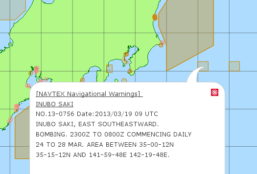 Location Map of Japan with NAVTEX Warning No 13-0756