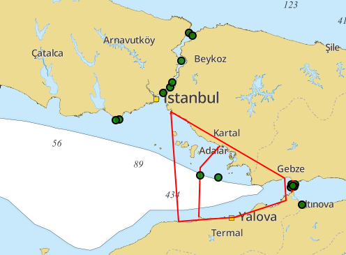 Map with Navigational Warnings for August 2016